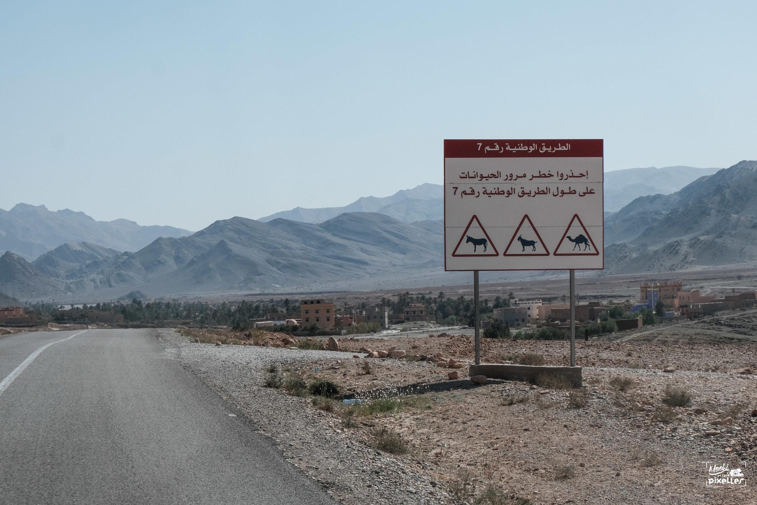 Panneau de signalisation écrit en arabe au Maroc