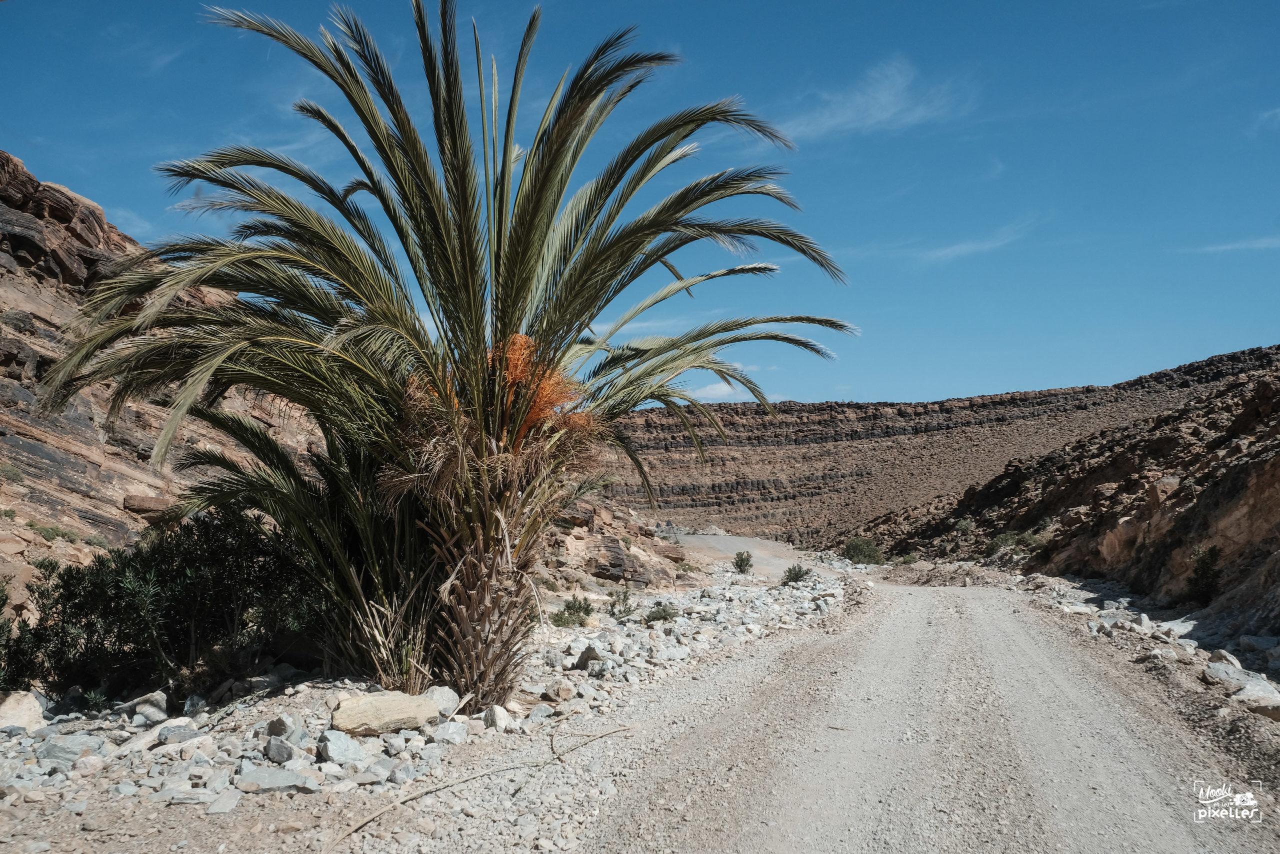 Piste caillouteuse dans l'Atlas au Maroc