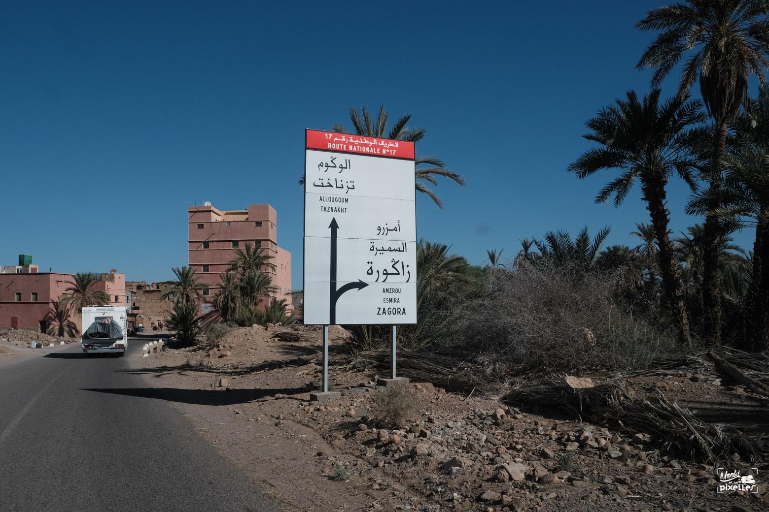 route vers zagora au maroc